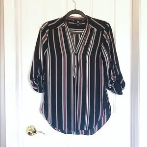 IZ Byer | S | Striped Button Down Blouse